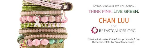 Chan Luu unas pulseras preciosas que ayudan a la lucha contra el cancer de pecho